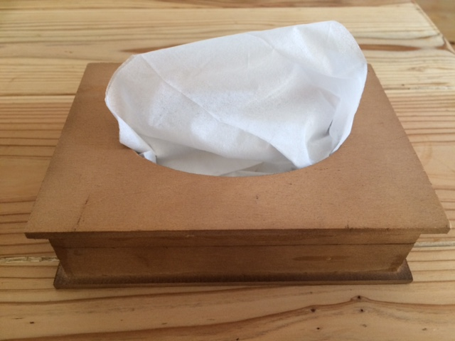 木箱ティッシュケース